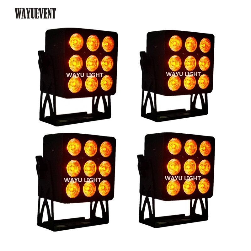 4 pcs/lot LED Peut 9x12W En alliage D'aluminium LED Par RGBW 4in1 DMX512 LED Carré de Lavage de pair d'étape de dj de lumière de partie de disco d'éclairage