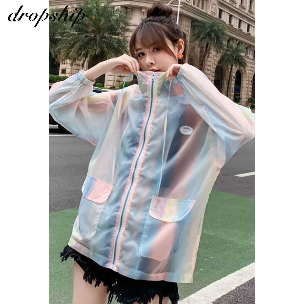 Dropship Frauen Sommer Windjacke Mantel Streetwear Lose Dünne Frauen Sonnencreme Jacke Lange Atmungs Koreanische Kpop Kleidung