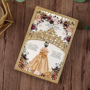 Image 3 - 100 шт. блестящие лазерные вырезы приглашения Quinceanera золотого цвета свадебные карманы с конвертом