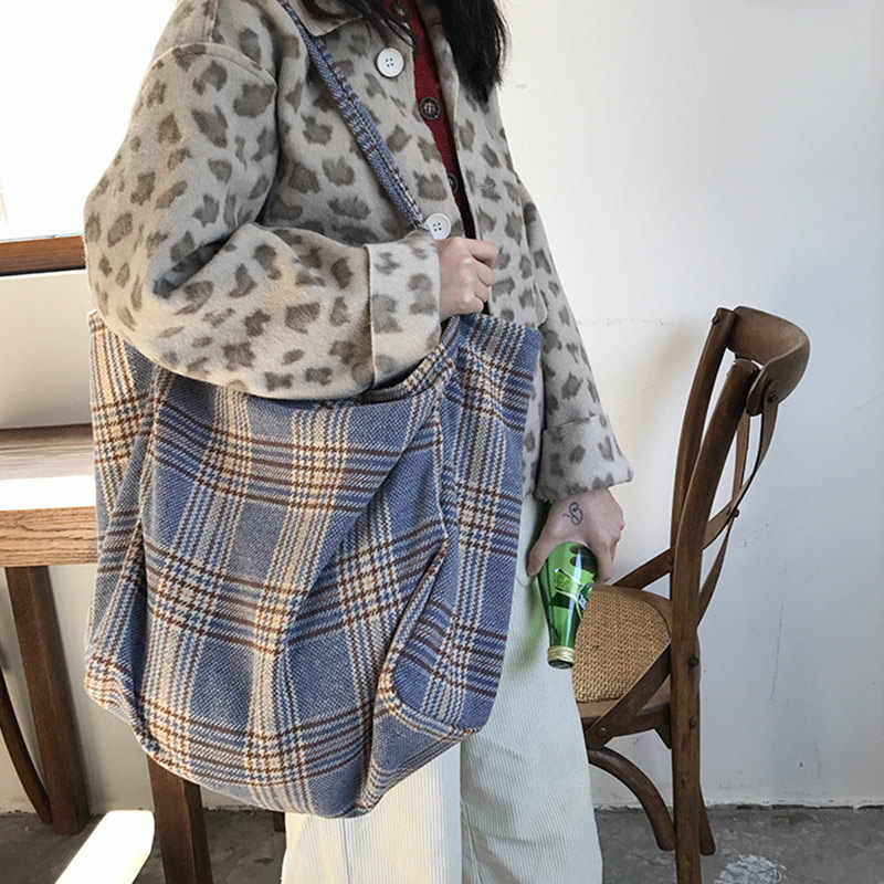 Wanita Wol Tartan Plaid Tas Wol Coklat Abu-abu Skotlandia Pola Bahu Tas Belanja Menggendong Cross Tubuh Tali Messenger Pack