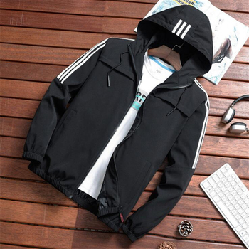 Chaqueta de Bombardero a rayas Casual para hombre 2020 nueva tendencia Sudadera con capucha cuello de béisbol ropa de calle chaqueta cortavientos de moda masculina