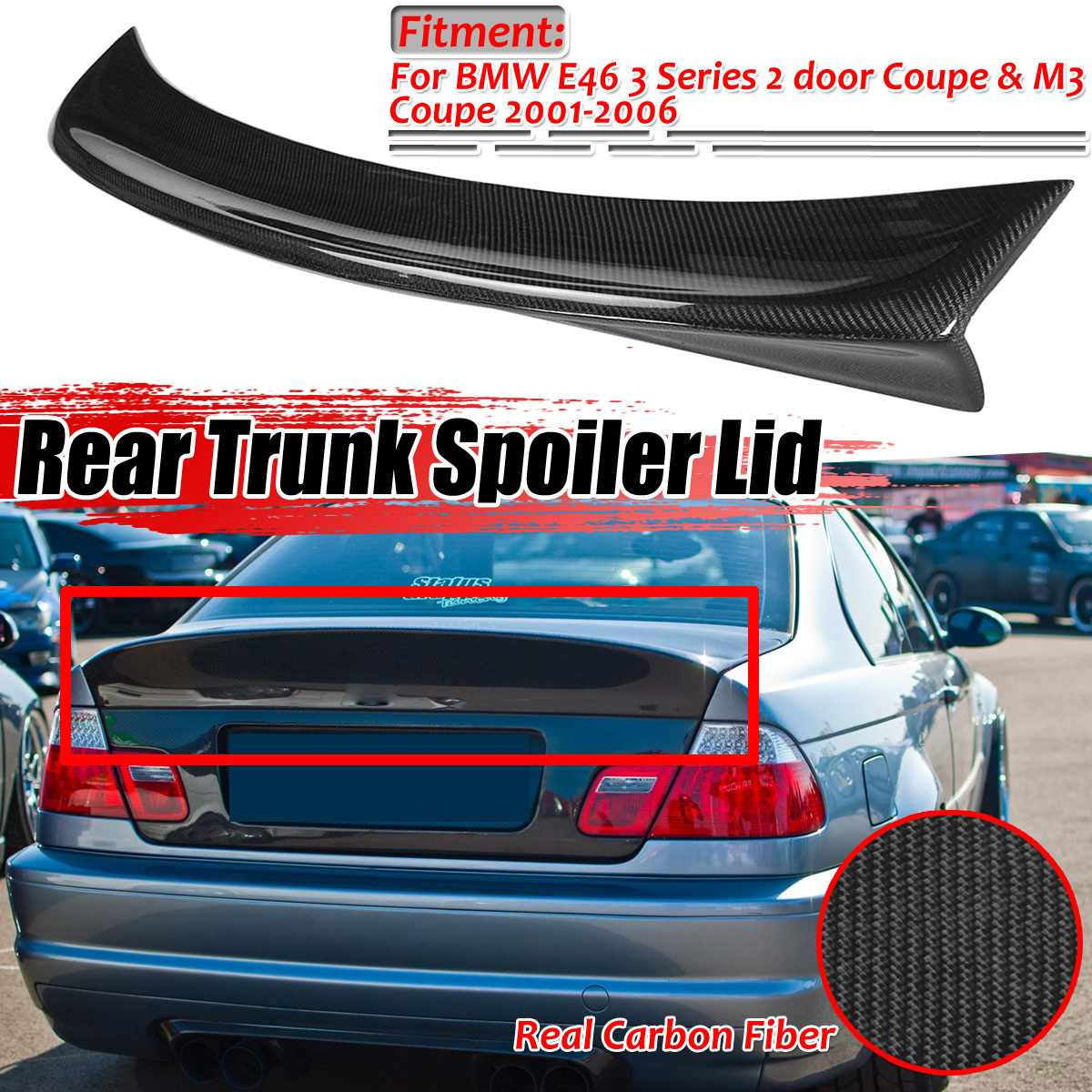 Carbon Fiber Rear Spoiler Tail Boot Wing Fit for BMW E46 M3 Coupe 2000-2006