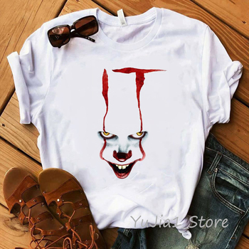 Funny IT Movie T-Shirt femme 2019 Summer Hot Stephen King Printed Tshirt Clown Custom halloween Pennywise T shirt women Tops Tee king stephen it