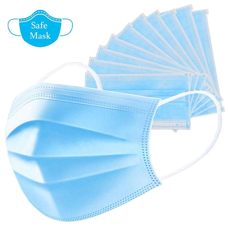 50PC Disposable Covid 19 Mask 3 Layer Filter Anti Virus Coronavirus Mascherine Protective Mouth Face Masks Non-Woven Unisex