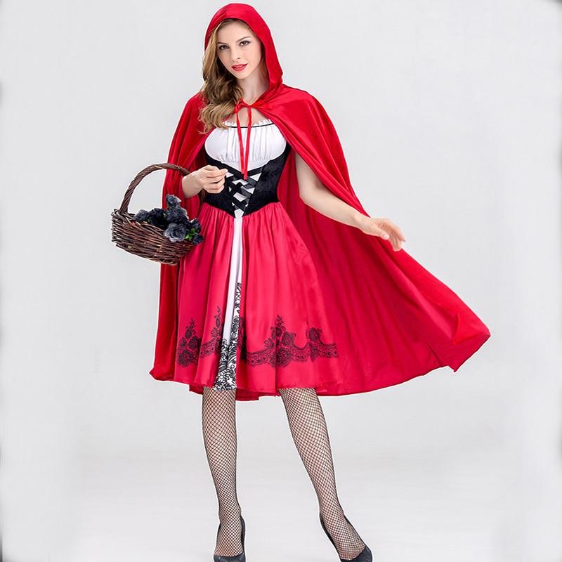 Halloween adulte femmes petit chaperon rouge Costume filles Halloween Cosplay Fantasia robe + cape Cosplay Costume pour la fête