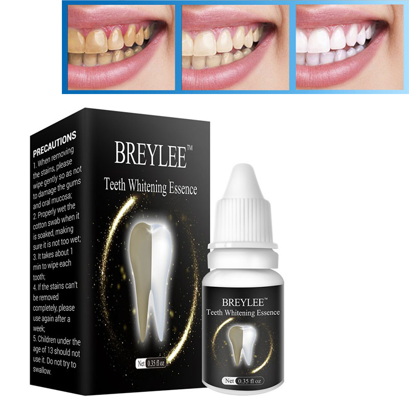 BREYLEE Teeth Whitening Essence Teeth White Cleaning Oral Hygiene Serum Removes Plaque Teeth Whitening Blemishes Dental Care