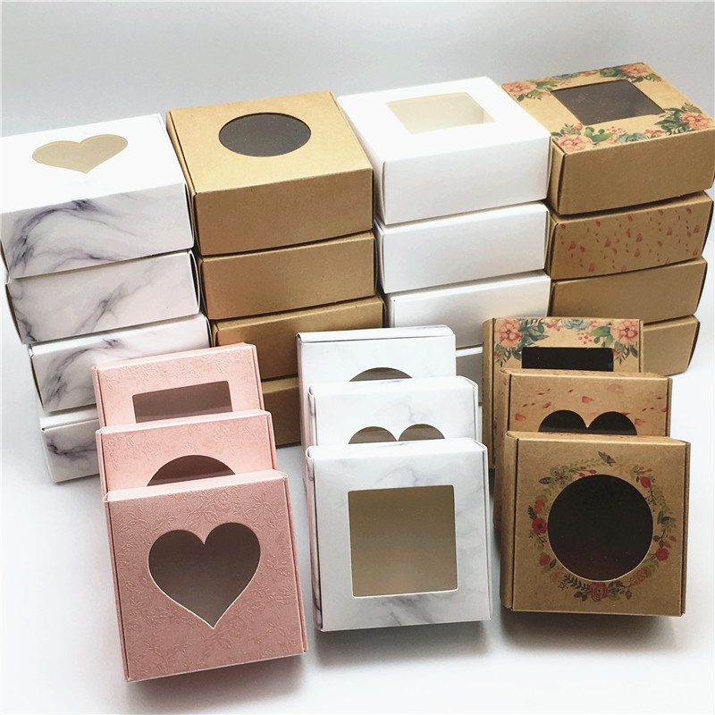 50PCS Paper Transparent PVC Window Aircraft Gift Boxes Kraft Products/Favors Jewelry Packing Box Beautiful Gift Display Box