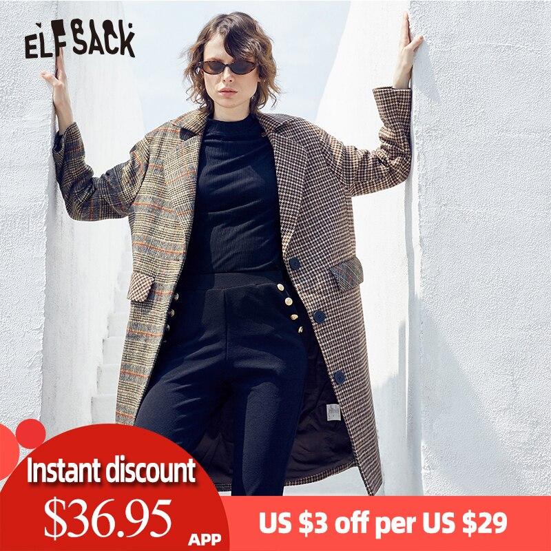 ELF bag Plaid bouton avant laine manteau femmes britannique veste 2019 hiver col rabattu Vintage femme veste décontractée
