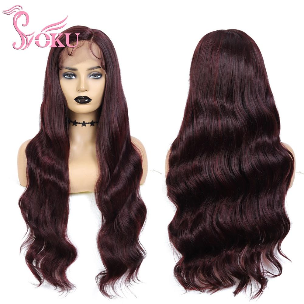 Soku 130% perucas sintéticas do laço perucas suíças da parte dianteira do laço com cabelo do bebê 30 polegadas longo ondulado roxo peruca de cabelo vermelho para preto branco