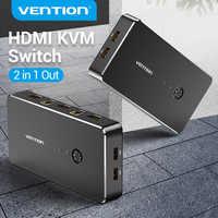 Convenio HDMI KVM conmutador de 4 puertos USB 2,0 K USB VGA interruptor KVM Spliiter interruptor para compartir impresora teclado ratón interruptor KVM VGA