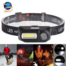 Портативный светодиодный налобный фонарь zhiyu xpe cob 6 режимов