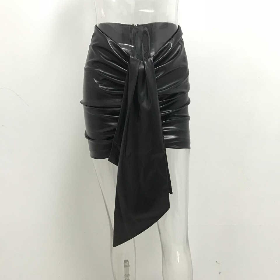 Karlofea Damen Mode Drapieren PU Leder Rock Chic Pailletten Club Party Outfits Neue Elegante Faux Leder Alltag Wrap Mini Rock
