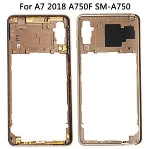 Image 5 - لسامسونج غالاكسي A7 2018 A750 عودة غطاء البطارية الإطار الأوسط سيم بطاقة استبدال جديد A750 كامل مقصورة البطارية المنزلية
