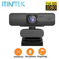 Webcam USB de gran angular de 1080P, Full HD, con micrófono, micrófono, Anti fisgones, enfoque automático, Web cámara para PC, ordenador, portátil, transmisión en vivo