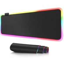 RGB – Grand tapis de souris avec rétroéclairage, pour PC et gaming, dessous de clavier, mat, XXL, pour bureau,