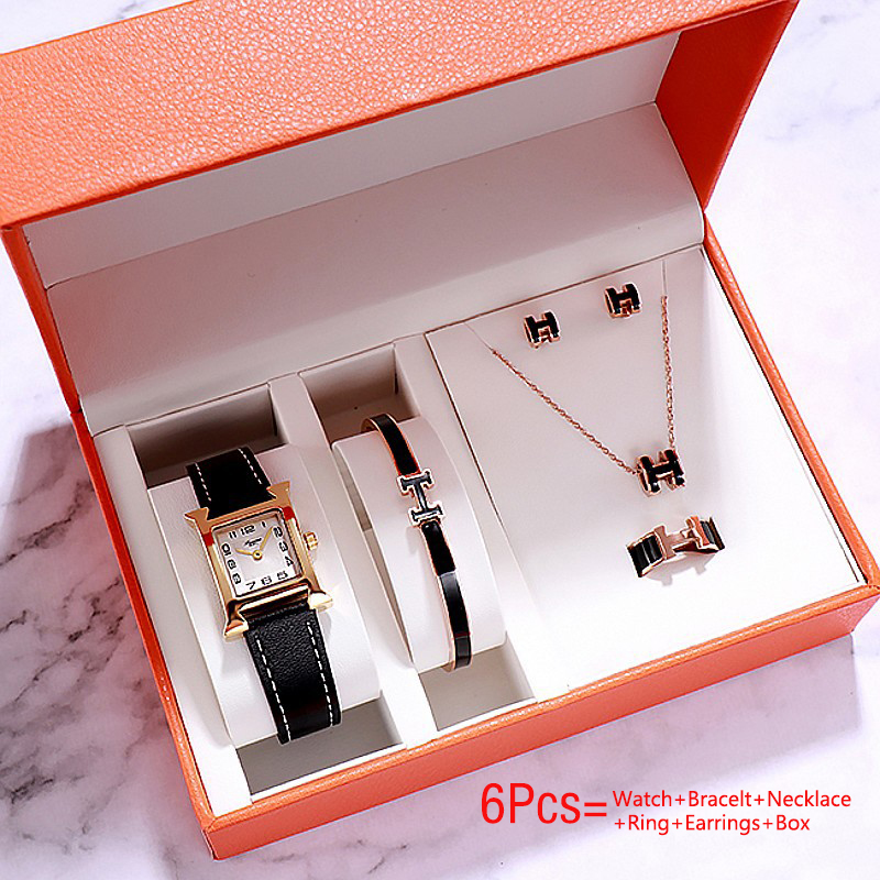 Luxury Ladies Quartz Watch Gift For Women Watches Bracelet Earrings Necklace Watches Set 6Pcs Fashion Female Wristwatch With Box
