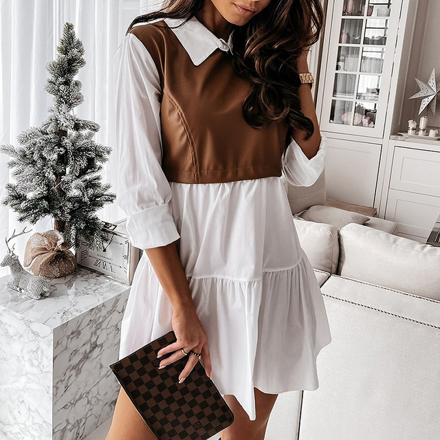 Women Plaid Dress Spring Fashion Long Sleeve PU Leather Patchwork Shirt Dress Turn-down Collar Office Lady Mini Dress Vestidos 6