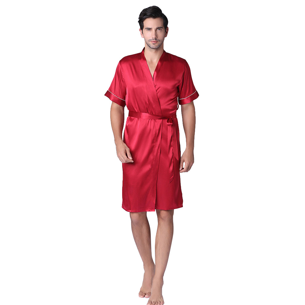 Mens Soft Pajamas New Short Sleeved Solid Color Suit Foreign Trade Home Service Silk Pajamas Fashion Modern Style Sleepwear Plus