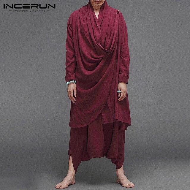 INCERUN Solid Color Men Sets Cotton Streetwear Turtleneck Long Sleeve Irregular Cloak Coats Drop Crotch Pants Vintage Mens Suits 2