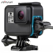 Soonsun Standard Frame Mount Beschermende Behuizing Case Voor Gopro Hero 5 6 7 Zwart Voor Go Pro HERO7 Wit Zilver actie Camera