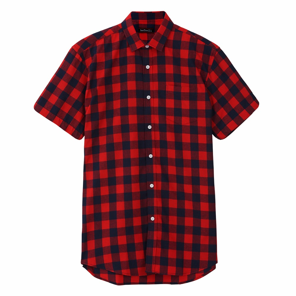 Red And Black Plaid Shirt Men Shirts 2020 New Summer Fashion Chemise Homme Mens Checkered Shirts Short Sleeve Shirt Men Clothes