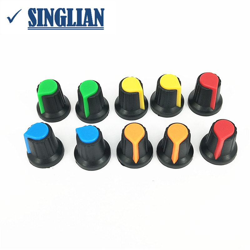 100pcs/lot Potentiometer Knob Power Amplifier Mixer Switch Knob Switch Cap Inside Diameter 6mm Outside Diameter 15mm * High 17mm