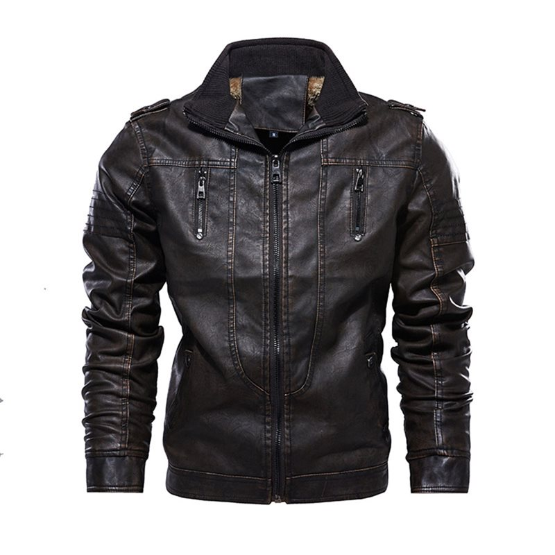 2019   Leather   Jacket Safari style Locomotive Casual Slim Fit Washed PU Faux   Leather   Coat Thick Plus Motorcycle   Leather   Clothes