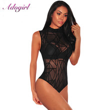 купить Sexy Sheer Mesh Sleeveless Bodysuit Women Mock Neck Velvet Transparent Party Club Jumpsuit Female Body Tops Tee Outfit Overalls дешево