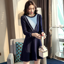 Korean Fashion Knitted Dress Women 2019 Autumn Winter New Slim Elegant Long Sleeve S-XL Hit Color Blue Mini Vestidos Mujer