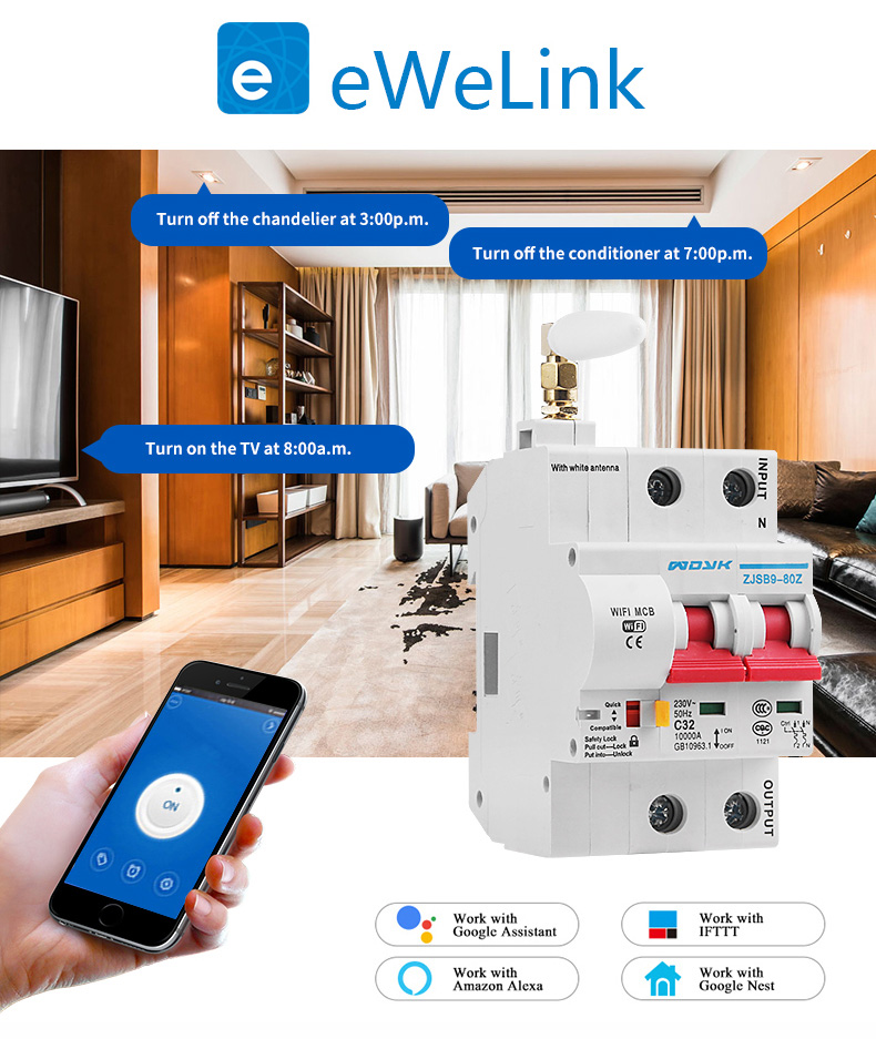 2P WiFi Smart Circuit Breaker Automatic Switch overload short circuit protection with Amazon Alexa Google home for Smart Home