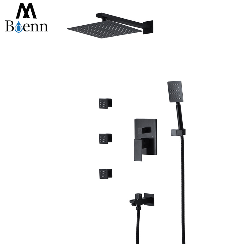 Ultra-thin Rainfall Shower Black Color Showerheads 304SUS Hot and Cold Faucets With Body Jets Massage