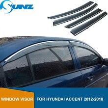 Deflectorsหน้าต่างด้านข้างสำหรับHyundai Accent 2012 2013 2014 2015 2016 2017 2018 SedanสีดำDeflectorลมรถSun Rain guard SUNZ