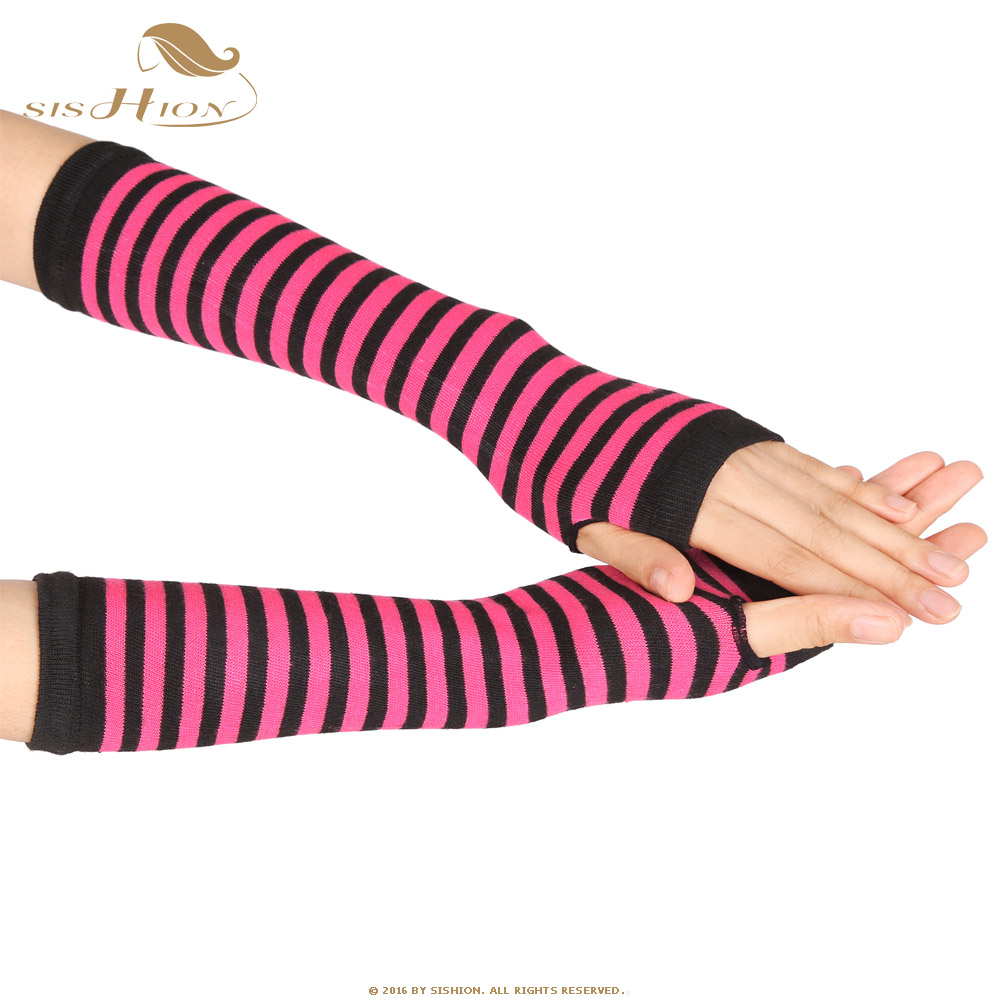 SISHION Autumn Winter Wrist Arm Warmers Knitted Long Fingerless Gloves Sleeve Fingerless Gloves Soft Warm Mitten Elbow Mittens