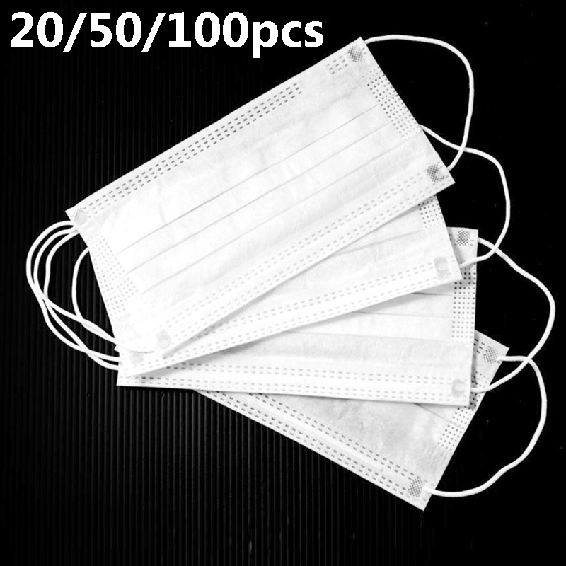 20/50/100/200/500pcs Disposable Masks Non Woven Anti-dust 3 Layers Breathable Earloops Face Mouth Muffle