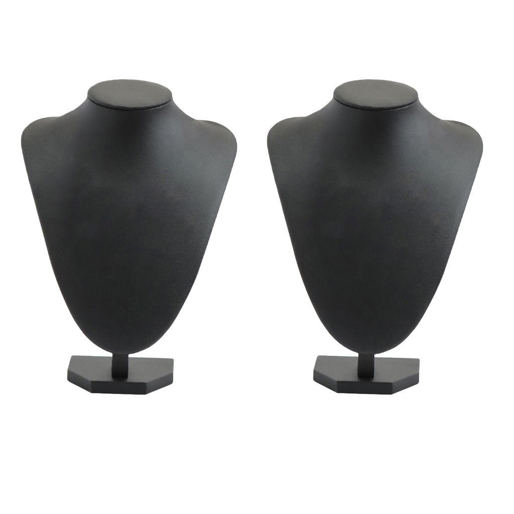 2x 3D Black Velvet Necklace Display Chain Jewelry Model Bust Stand, 8.27x6.30in