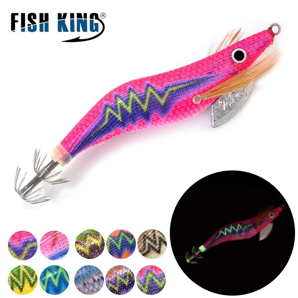 FISH KING 8/11.5/14/19.5g Hard Bait Luminous Squid Jig Sea Fishing Lure 2.0/2.5/3.0/3.5# Shrimp Cuttlefish Squid Hook Rig