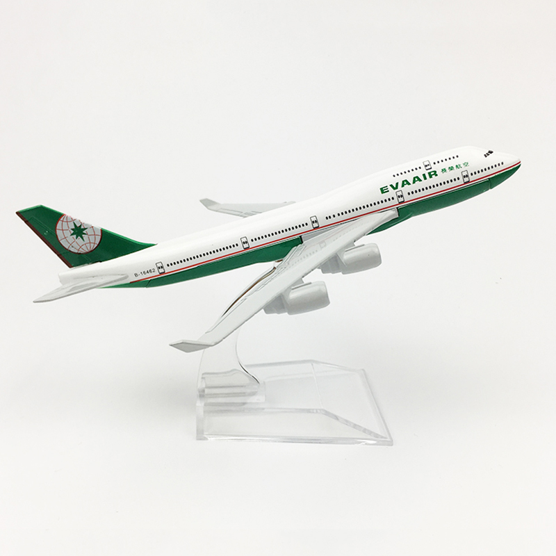 1/400 Scale Metal Aircraft Model EVA AIR Boeing 747 16cm Alloy Airplane B747 Airliners Toys Children Kids Gift For Collection