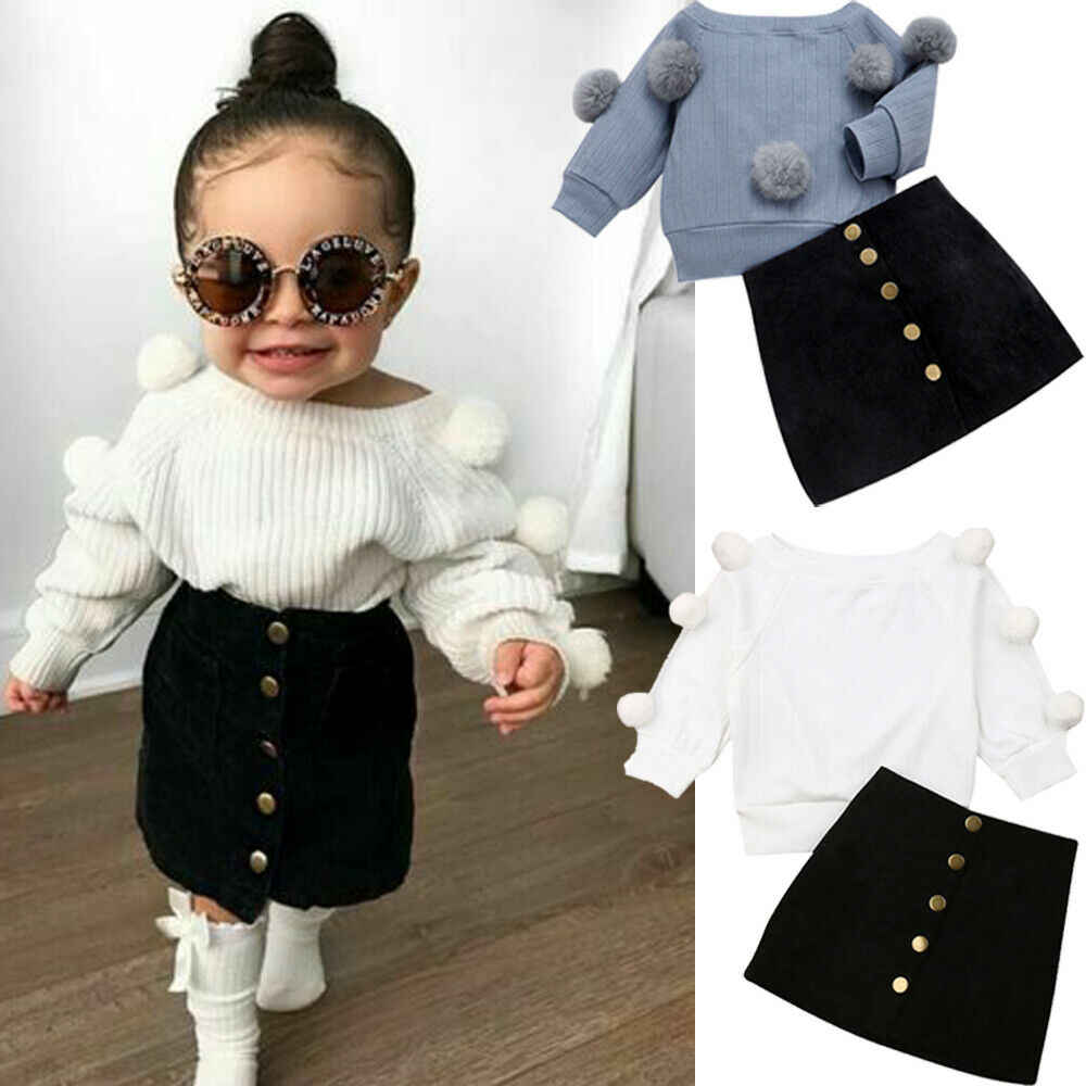 2019 Autumn New 1-6Year Kids Toddler Baby Girl Clothes Set Long Sleeve Knitted Tops Sweater + Button Mini Skirt Outfits