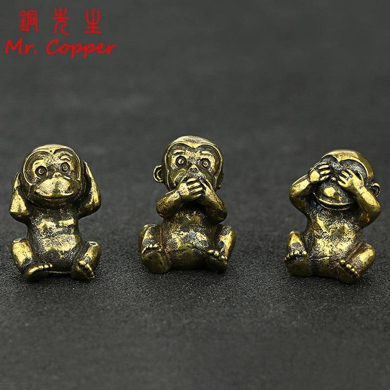 Monkey Ornament Figurine Statue Animal Brass Home Decoration Decor Mini Office