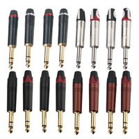 100PCS/50Pairs Jack6.35 Male Audio Stereo Plug Wire Connector Mono Plug Microphone Speaker TS TRS Plug Goldplated Metal Adapter