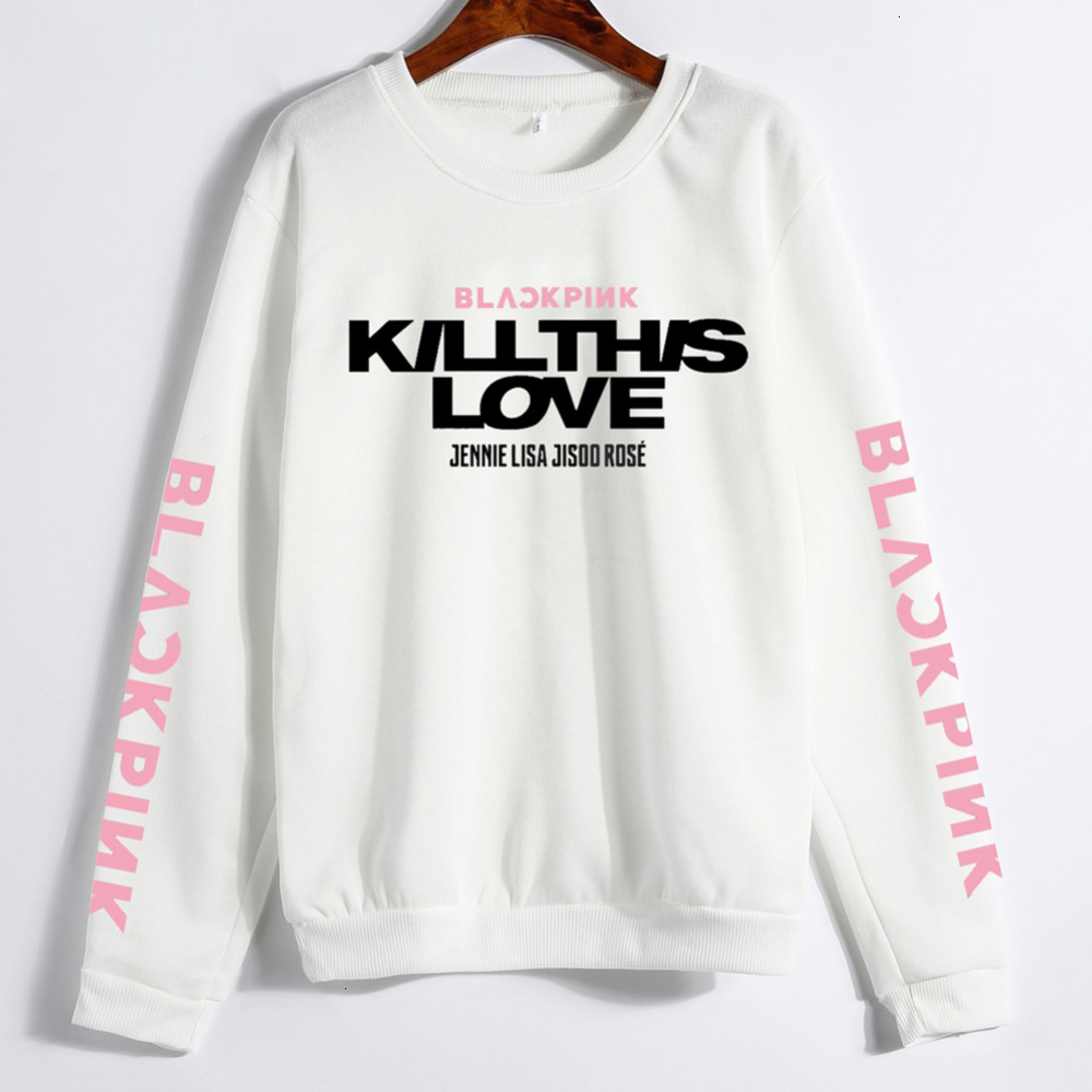 Young Tree Unisex Lovers Clothes Korean BLACK PINK KILL THIS LOVE Album Letters Sweatshirt  Man Woman Pullover Sudadera Mujer