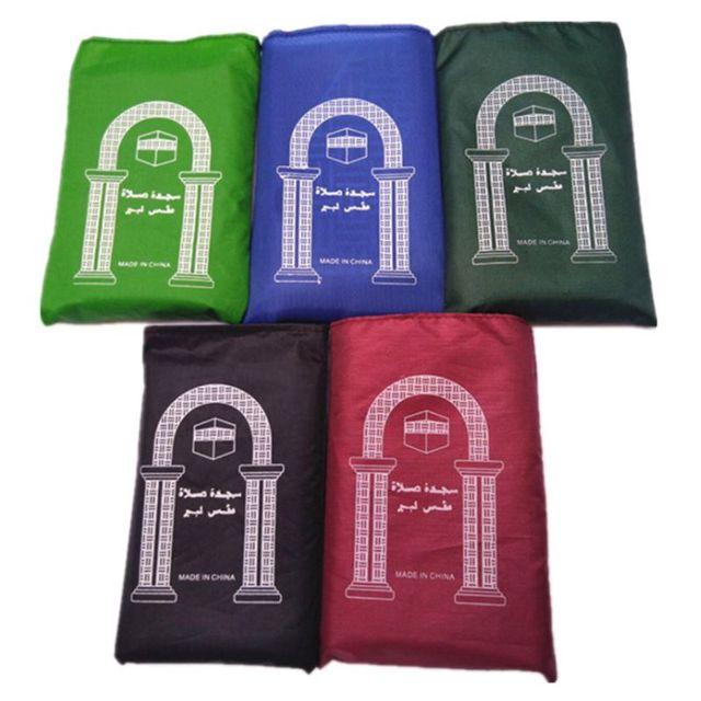 Portable Muslim Prayer Rug Waterproof PU Braided Mat Simply Print Pouch Travel Home Blanket 60x100CM