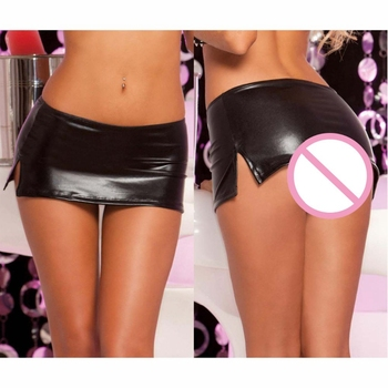 Sexy wetlook Latex pvc Skirt with G-string Thong