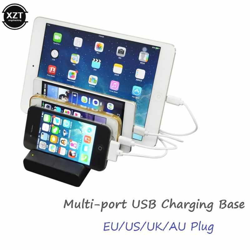 USB マルチポート高速充電ステーション 4 ポート USB ドックハブ電話/テーブル/腕時計ホルダー収納ソケット 3A 充電電源アダプタ