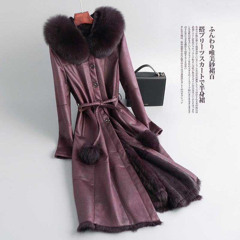 Natural Rabbit Fur Coat Female Long Vintage Real Fox Fur Hooded Shearling Jacket Women Korean Double Faced Fur Coats Tops 093014