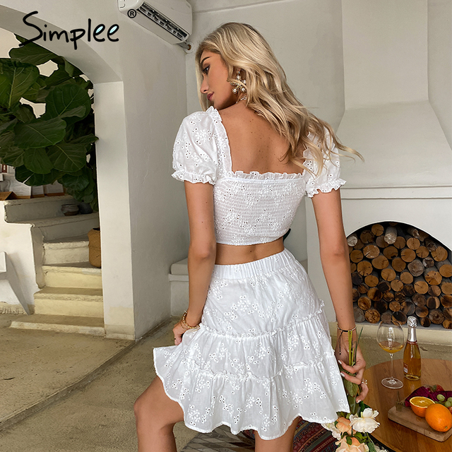 Simplee Roman holiday style two pieces ruffled women set summer Romantic puff sleeve top and embroidery skirt Bow sash slim suit 5
