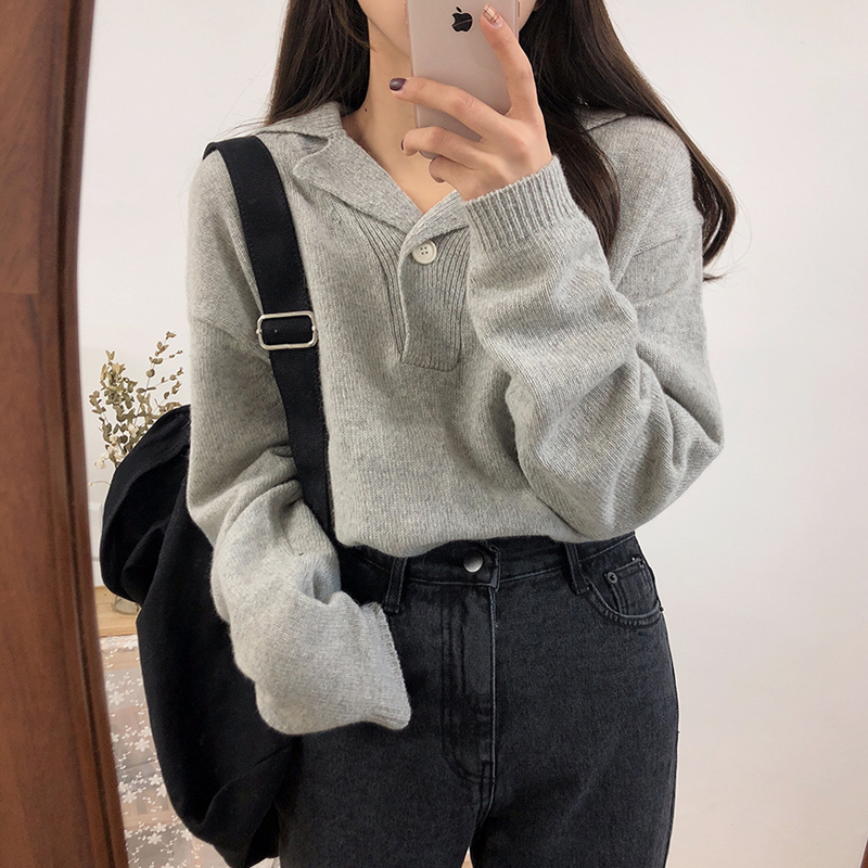 Women's Sweaters Japanese Kawaii Ulzzang Vintage Chic Solid Color Long Sleeve Sweater Female Korean Harajuku Clothing For Women