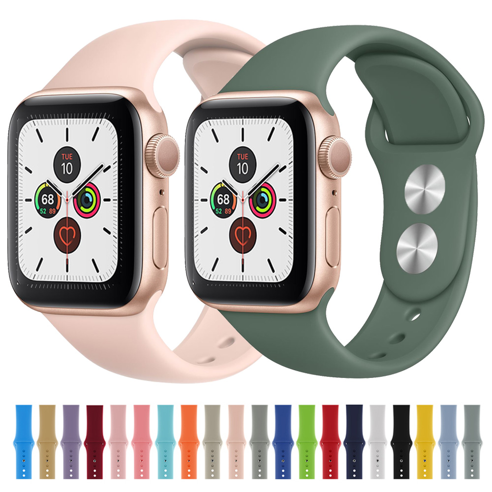 Silicone Strap For Apple Watch 5 4 3 2 1 38mm 42mm Soft Sports Silicone Watchband For Iwatch 4 5 44mm 40mm Sports Bracelet Strap