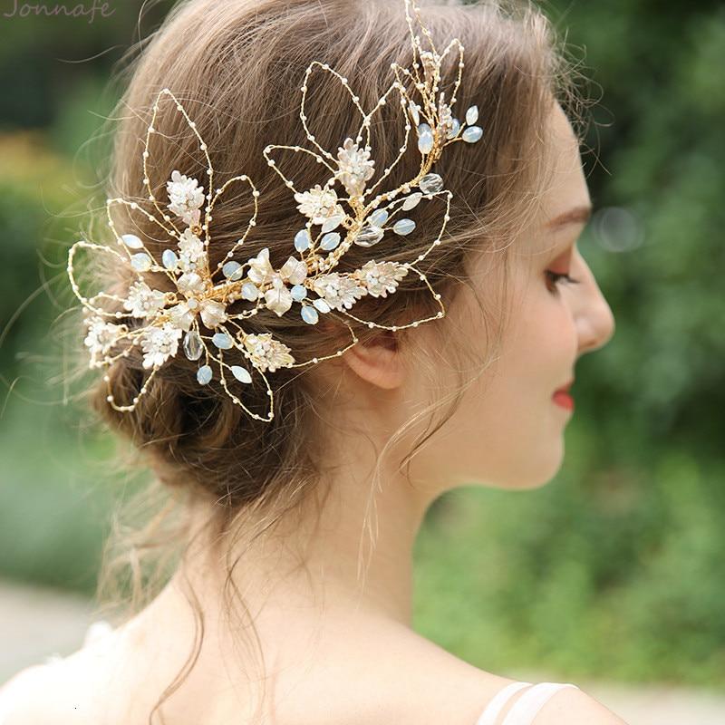 NPASON 2019 généreuse feuille d'or mariée épingle à cheveux couronne pince cristal femmes mariage bal cheveux pièce accessoires main filaire bijoux