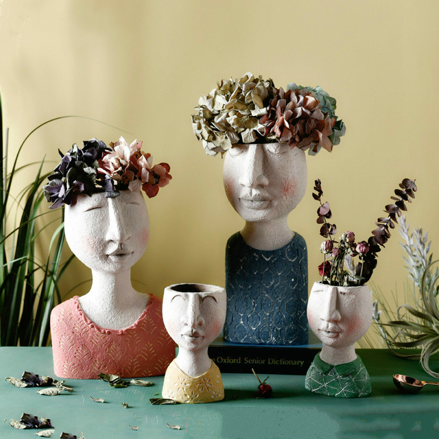 Art portrait sculpture flower pot Nordic Creative dried flower arrangement vase Home Garden decoration Flower Planter Bonsai Pot 1